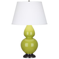 Robert Abbey 1643X Double Gourd 31 inch 150 watt Apple with Deep Patina Bronze Table Lamp Portable Light in Pearl Dupioni
