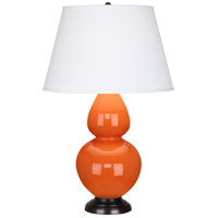 Robert Abbey 1645X Double Gourd 31 inch 150 watt Pumpkin with Deep Patina Bronze Table Lamp Portable Light in Pearl Dupioni