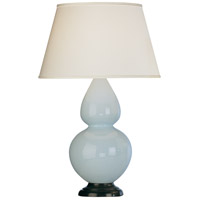 Robert Abbey 1646X Double Gourd 31 inch 150 watt Baby Blue Table Lamp Portable Light in Deep Patina Bronze Pearl Dupioni