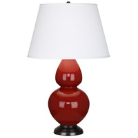 Robert Abbey 1647X Double Gourd 31 inch 150 watt Oxblood with Deep Patina Bronze Table Lamp Portable Light in Pearl Dupioni