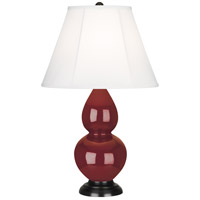 Robert Abbey 1657 Small Double Gourd 23 inch 150 watt Oxblood Accent Lamp Portable Light in Deep Patina Bronze, Ivory Silk