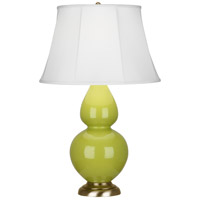 Robert Abbey 1663 Double Gourd 31 inch 150 watt Apple with Antique Natural Brass Table Lamp Portable Light in Ivory Stretched Fabric thumb