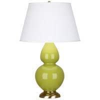 Robert Abbey 1663X Double Gourd 31 inch 150 watt Apple with Antique Natural Brass Table Lamp Portable Light in Antique Brass Pearl Dupioni