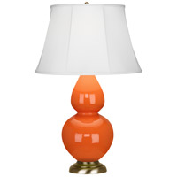 Robert Abbey 1665 Double Gourd 31 inch 150 watt Pumpkin Table Lamp Portable Light in Antique Brass Ivory Silk