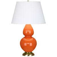 Robert Abbey 1665X Double Gourd 31 inch 150 watt Pumpkin with Antique Natural Brass Table Lamp Portable Light in Antique Brass Pearl Dupioni
