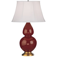 Robert Abbey 1667 Double Gourd 31 inch 150 watt Oxblood Table Lamp Portable Light in Antique Brass, Ivory Silk