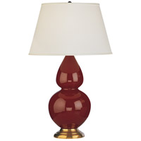 Robert Abbey 1667X Double Gourd 31 inch 150 watt Oxblood Table Lamp Portable Light in Antique Brass Pearl Dupioni