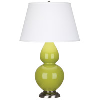 Robert Abbey 1673X Double Gourd 31 inch 150 watt Apple Table Lamp Portable Light in Antique Silver Pearl Dupioni