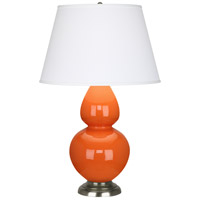 Robert Abbey 1675X Double Gourd 31 inch 150 watt Pumpkin with Antique Silver Table Lamp Portable Light in Pearl Dupioni