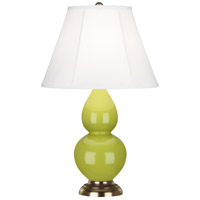 Robert Abbey 1683 Small Double Gourd 23 inch 150 watt Apple Accent Lamp Portable Light in Antique Brass, Ivory Silk