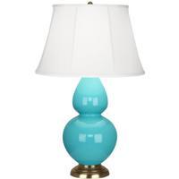 Robert Abbey 1740 Double Gourd 31 inch 150 watt Egg Blue Table Lamp Portable Light in Antique Brass Ivory Silk