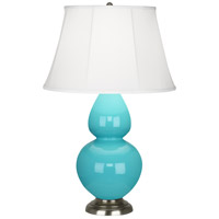 Robert Abbey 1741 Double Gourd 31 inch 150 watt Egg Blue with Antique Silver Table Lamp Portable Light in Ivory Silk