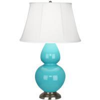 Robert Abbey 1741 Double Gourd 31 inch 150 watt Egg Blue Table Lamp Portable Light in Antique Silver Ivory Silk
