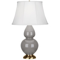 Robert Abbey 1748 Double Gourd 31 inch 150 watt Smoky Taupe Table Lamp Portable Light in Antique Brass, Ivory Silk