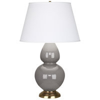 Robert Abbey 1748X Double Gourd 31 inch 150 watt Smoky Taupe Table Lamp Portable Light in Antique Brass, Pearl Dupioni