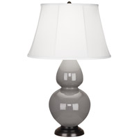 Robert Abbey 1749 Double Gourd 31 inch 150 watt Smoky Taupe Table Lamp Portable Light in Deep Patina Bronze Ivory Silk