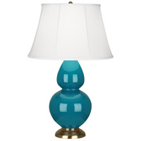 Robert Abbey 1751 Double Gourd 31 inch 150 watt Peacock Table Lamp Portable Light in Antique Brass Ivory Silk