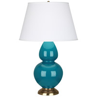 Robert Abbey 1751X Double Gourd 31 inch 150 watt Peacock Table Lamp Portable Light in Antique Brass, Pearl Dupioni