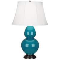 Robert Abbey 1752 Double Gourd 31 inch 150 watt Peacock Table Lamp Portable Light in Deep Patina Bronze, Ivory Silk