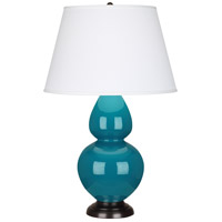 Robert Abbey 1752X Double Gourd 31 inch 150 watt Peacock Table Lamp Portable Light in Deep Patina Bronze, Pearl Dupioni