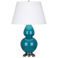 Robert Abbey 1753X Double Gourd 31 inch 150 watt Peacock Table Lamp Portable Light in Antique Silver, Pearl Dupioni
