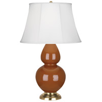 Robert Abbey 1757 Double Gourd 31 inch 150 watt Cinnamon Table Lamp Portable Light in Antique Brass Ivory Silk