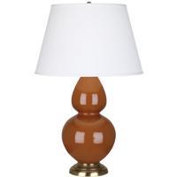 Robert Abbey 1757X Double Gourd 31 inch 150 watt Cinnamon Table Lamp Portable Light in Antique Brass, Pearl Dupioni