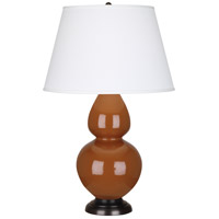 Robert Abbey 1758X Double Gourd 31 inch 150 watt Cinnamon Table Lamp Portable Light in Deep Patina Bronze Pearl Dupioni