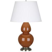 Robert Abbey 1759X Double Gourd 31 inch 150 watt Cinnamon Table Lamp Portable Light in Antique Silver Pearl Dupioni