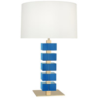 Robert Abbey 176X Jonathan Adler Monaco 26 inch 150 watt Lacquered Natural Brass with Turquoise Crystal Table Lamp Portable Light
