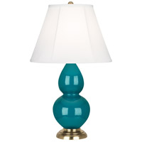 Robert Abbey 1771 Small Double Gourd 23 inch 150 watt Peacock Accent Lamp Portable Light in Antique Brass, Ivory Silk