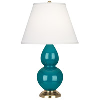 Robert Abbey 1771X Small Double Gourd 23 inch 150 watt Peacock Accent Lamp Portable Light in Antique Brass Pearl Dupioni