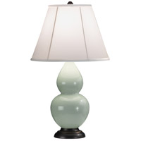 Robert Abbey 1787 Small Double Gourd 23 inch 150 watt Celadon Accent Lamp Portable Light in Deep Patina Bronze, Ivory Silk