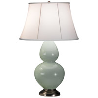 Robert Abbey 1791 Double Gourd 31 inch 150 watt Celadon Table Lamp Portable Light in Antique Silver, Ivory Silk