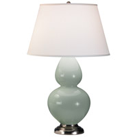 Robert Abbey 1791X Double Gourd 31 inch 150 watt Celadon Table Lamp Portable Light in Antique Silver, Pearl Dupioni