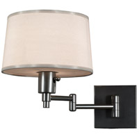 Real Simple 15 inch 60 watt Gunmetal Powder Coat Swing Lamp Wall Light in Snowflake Fabric