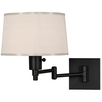 Real Simple 15 inch 60 watt Matte Black Powder Coat Swing Lamp Wall Light in Snowflake Fabric