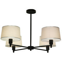 Real Simple 4 Light 27 inch Matte Black Powder Coat Over Steel Chandelier Ceiling Light in Snowflake Fabric