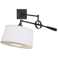 Real Simple 31 inch 60 watt Matte Black Powder Coat Swing Lamp Wall Light in Snowflake Fabric