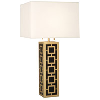 Jonathan Adler Parker 34 inch 100 watt Antique Brass Table Lamp Portable Light in Fondine Fabric
