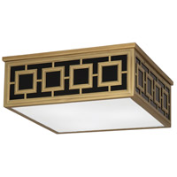Robert Abbey 1947 Jonathan Adler Parker 3 Light 17 inch Antique Brass Flush Mount Ceiling Light in Black Glass