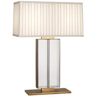 Robert Abbey 1957 Sloan 28 inch 100 watt Lead Crystal with Aged Brass Table Lamp Portable Light in Ivory Silk With Off-White Silk