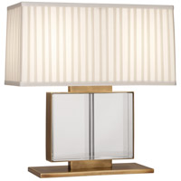 Robert Abbey 1958 Sloan 19 inch 100 watt Lead Crystal with Aged Brass Table Lamp Portable Light in Ivory Silk With Off-White Silk