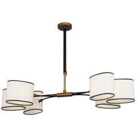 Robert Abbey 2128 Axis 6 Light 49 inch Aged Brass with Cocoa Brown Chandelier Ceiling Light in Fondine Fabric thumb
