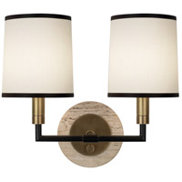 Robert Abbey 2137 Axis 2 Light 14 inch Aged Brass with Cocoa Brown Wall Sconce Wall Light in Aged Natural Brass, Fondine Fabric thumb