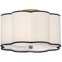Robert Abbey 2139 Axis 2 Light 16 inch Aged Brass Flush Mount Ceiling Light in Fondine Fabric