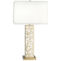 Lloyd 30 inch 150 watt Modern Brass with White Table Lamp Portable Light in White Lacquered