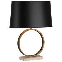 Logan 25 inch 150 watt Aged Brass / Travertine Stone Table Lamp Portable Light in Black Painted Opaque Parchment