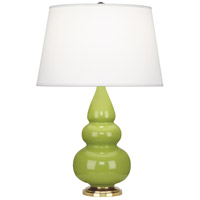 Small Triple Gourd 24 inch 150 watt Apple with Antique Natural Brass Table Lamp Portable Light