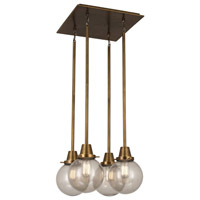 Rico Espinet Buster Globe 4 Light 15 inch Aged Brass Chandelier Ceiling Light in Topaz Seeded Glass